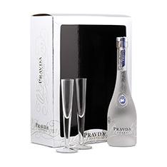 PRAVDA VODKA GIFT PACKAGE WITH 2 GLASSES